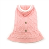 Cable Hoodie Sweater Dress Pink